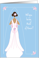 Be My Maid of Honor Invitation, Black Haired Bride and Bridal Gown card