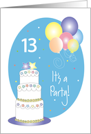 Invitation 13th Birthday, Cake, Stars and Balloons card