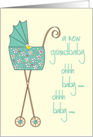 Congratulations Grandparents Expecting New Grandchild, Green Stroller card