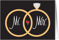 Wedding Congratulations, Mr. and Mrs. with Rings and Heart card