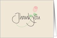 Thank you in calligraphy with pink long stemmed rose card