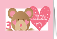 Invitation for 3rd Birthday Party with Teddy Bear and Pink Hearts card