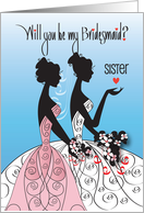 Bridesmaid Invitation for Sister, Brunette Bride with Bouquet card