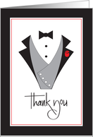 Thank you For Groomsman in Wedding, Tuxedos and Roses card