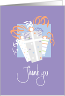 Thank you for Gift in Calligraphy With Wrapped Gifts card