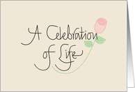 Invitation for Celebration of Life Memorial Service with Rose card