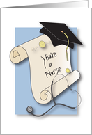 Graduation Congratulations for Nurse with Diploma and Stethoscope card