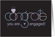Congratulations on your Wedding Engagement with Rings and Heart card
