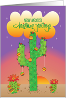 New Mexico Holiday Greetings, Saguaro with Ornaments and Sunset card