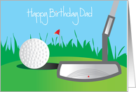 Happy Birthday for Dad with Golf Ball and Putter card