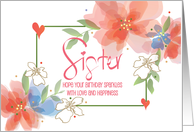 Happy Birthday for Sister with Golf Ball and Putter card