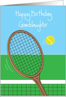 Happy Birthday for Granddaughter with Tennis Racquet and Tennis Ball card