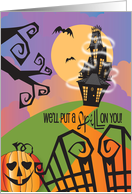Invitation for Halloween with Haunted House, House on Hill & Sign card