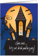 Invitation Halloween Party, Haunted House with Peeking Ghosts card