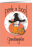 Halloween for Granddaughter, Peek a Boo Mouse in Witch's Hat card