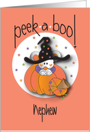 Halloween Peek-a-Boo for Nephew, Mouse in Witch's Hat card