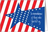 Memorial Day, with Stars and Red and White Stripes card