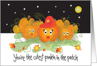 Halloween Card for Kids, Cutest Punkin in Patch card