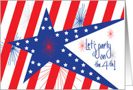 4th of July Party Celebration Invitation, Stars, Stripes and Fireworks card