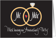 Anniversary Party Invitation, Overlapping Wedding Rings and Heart card