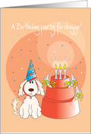 Invitation for Pet Dog's Birthday, Party Hat and Dog Dish Cake card