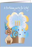 Invitation for Pet Cat's Birthday, Party Hat and Cupcake with Candles card