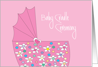 Invitation for Baby Girl Cradle Ceremony with Pink Basinette card