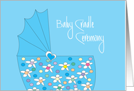 Invitation for Baby Boy Cradle Ceremony with Blue Basinette card