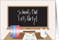 Invitation to School's Out Party, Blackboard and Desk card