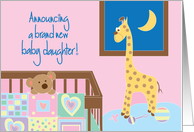 Announcement of New Baby Daughter, with Crib, Toys and Quilt card