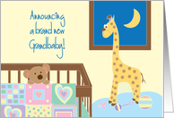 Announcement of Birth of New Grandbaby, Crib and Toys card
