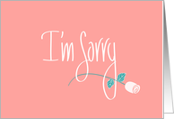 Apology in Handlettering, Long Stem Rose on Melon to say I'm Sorry card