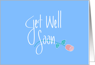 Get Well Soon in Handlettering, Long Stem Rose on Blue card