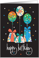 Happy Birthday with Trio of Colorful Flowers card