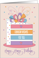 Joyful Birthday Wishes with Colorful Flowers on Blue card