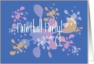 Paintball Party Invitation with Bright Colored Paint Spatters card