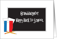 Granddaughter Happy Back to School, Blackboard and School Supplies card