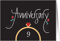 9th Wedding Anniversary With Ring, Heart and Red Roses card