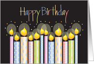 Happy Birthday, Colorfully Decorated Candles on Black card