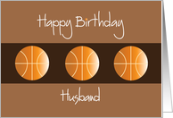 Birthday for Husband, Trio of Basketballs on Brown card