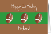 Birthday for Husband, Trio of Footballs on Brown and Green card