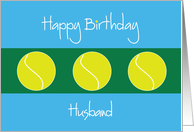 Birthday for Husband with Trio of Tennis Balls card
