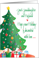 Christmas for Great Granddaughter and Husband, Decorated Tree card