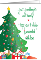 Christmas for Great Granddaughter and Family, Decorated Tree card