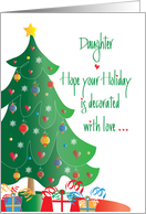 Christmas Decorated for Daugter with Love, Tree and Ornaments card