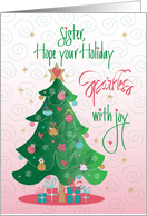 Christmas Decorated with Love for Sister, Tree and Ornaments card
