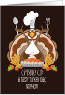 Thanksgiving for Nephew, Turkey with Chef's Hat and Rolling Pin card