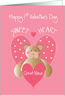 First Valentine's Day for Great Niece, Bear Sweetheart with Hearts card