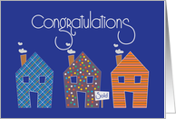 Congratulations on Selling Your Home, Trio of Patterned Homes card