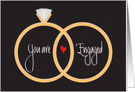 Wedding Engagement Congratulations, Rings and Heart card
